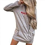 Damen Kleider Dasongff Hoodie Pulloverkleid Tunikakleid Frauen Solid Langarmshirt Winter Warm Longpullover Casual Sweatershirts Bluse