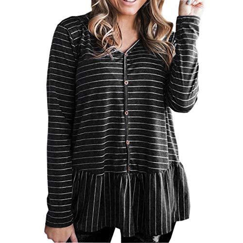 Damen Frauen Teenager Mädchen Langarmshirt MYMYG Casual Langarm V-Ausschnitt Sweatshirt gestreiften Bluse ()
