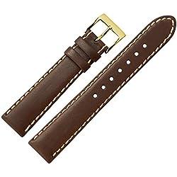Uhrenarmband 18mm Leder braun - echtes Rindsleder, mit heller Naht - Ersatzarmband für sportliche Uhren - klassisches Marburger Uhrband - Marburger Uhrenarmbänder seit 1945 - dunkelbraun / gold
