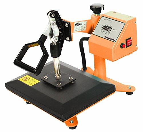 RICOO Transferpresse Power Zwerg Druckfläche: 23x30cm Textildruckpresse Textilpresse Transfer Presse Thermopresse T-Shirtpresse Sublimationspresse geeignet für Flexfolie und Flockfolie || Shirt bedrucken günstig || Farbe:Gelb / Orange