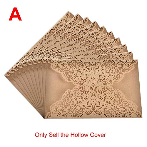 AOWEIRILUV 10 PC Blumen-Muster-Spitze-Hochzeits-Einladungs-Karten-Dichtungs-Umschlag
