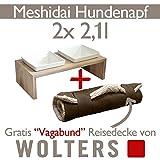 Wolters Hunde Katzen Futterstation Meshidai 2 x 2,1 L schiefer + Reisedecke Vagabund Doppelnapf Hundenapf