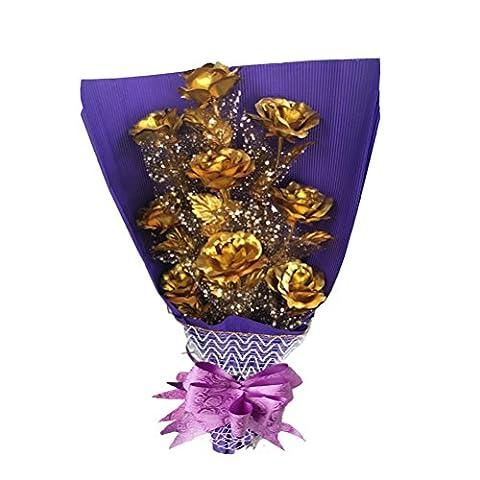 Goldfolie Rose Bunch 9 Stück, Gold Rose Blume mit Geschenkbox, für Valentinstag, Muttertag, Geburtstag, Hochzeiten, Danke und andere