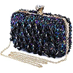 Bolso de Noche Lujo Embrague con Lentejuelas y Glitter Rhinestone Clutch Hechos a Mano Billetera Monedero del Banquete Fiesta Boda-Azul