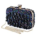 Pochette Per Donna Borsetta Cerimonia Borsa da sera da Tracolla Diamond Clutch per Cocktail Party Matrimonio (b-Blu scuro)