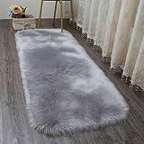 AJON- Weiches Teppich Bett Matte Imitation Wolle Wohnzimmercouch Tischmatte Sofa-Teppich Grau Schwebende Fenster Matte,B,70X150CM