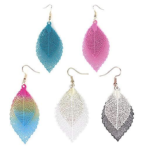 creatspaceDE Mode-große Ohrringe einzigartiger natürlich Echt Blatt Lange Ohrringe Ohrstecker fein poliert eleganter Schmuck Geschenk für Frauen Farbe: Gemäß Modus