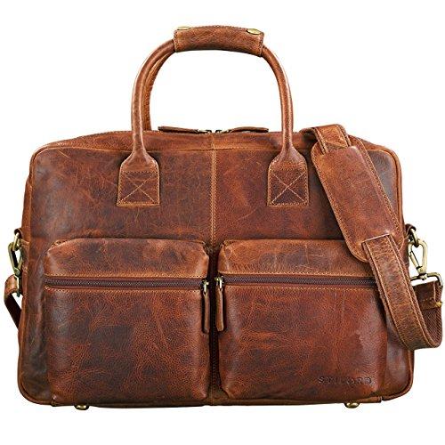 STILORD 'Ben' Vintage Businesstasche Leder groß Unisex Umhängetasche 15,6 Zoll Laptop College Bag Aktentasche Uni echtes Rindsleder, Farbe:kara - cognac