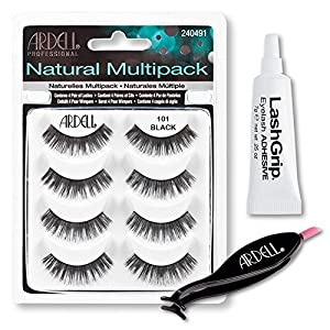 Ardell Fake Eyelashes Value Pack - Natural Multipack 101 (Black), LashGrip Strip Adhesive, Dual Lash Applicator - Everything You Need For Perfect False Eyelashes by Ardell