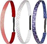 Ivybands® Kids | Anti-Rutsch Haarband für Kinder | 3-er Pack | Rot Weiss Blau Anker Bunt Gepunktet | Kinderhaarband (1,6 cm Breite) IKID006 IKID007 IKID001