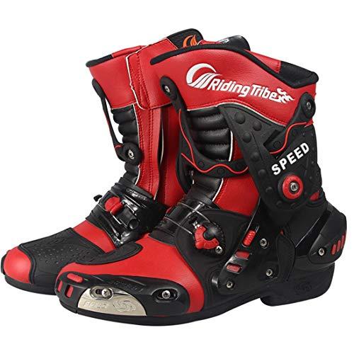 LLC-CLAYMORE Herren Street Motorrad-Stiefel, Motorrad-Rennstiefel Schuhe mit Knob-Typ-Elastik-Einstellgerät und Adjustable Vent,Red,US9.5/EU44 -