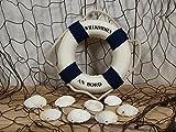 Fischernetz 1x2m braun, 8 Muscheln u.15cm Rettungsring b/w maritime Deko