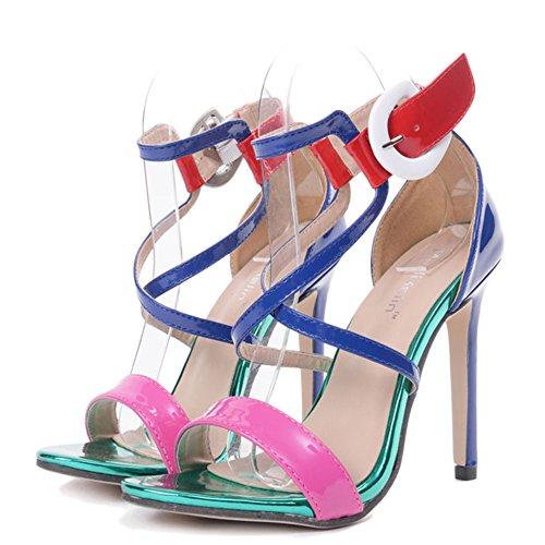 YR-R Damen Open Toe Ausgeschnitten Colorblock Stiletto Sandalen Frauen Knöchelriemen Nachtclub Party High Heels Rom Pumpen,Blue-EU:37/UK:4.5