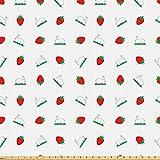 ABAKUHAUS Ostern Stoff als Meterware, Erdbeeren und Hasen,