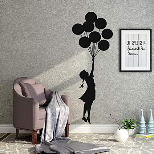 Luftballons Mädchen kreative Wandaufkleber Wohnzimmer Schlafzimmer TV Hintergrund Fenster Dekoration Wandaufkleber Wandaufkleber für die Dekoration Halle Schlafzimmer Wohnzimmer Esszimmer ABsoar