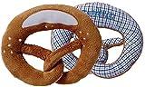 Plüsch Breze Blau + Integrierter Rassel, Babyrassel, Brezenform, Plüsch, Größe 15 x 13 cm,