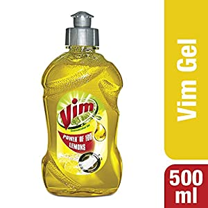 Vim Dishwash Liquid Gel Lemon 500ml Bottle