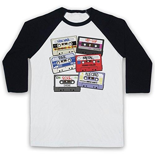 Cassette Tapes Retro Mix Tape Manga 3/4 Camiseta del Béisbol, Blanco & Negro, XL