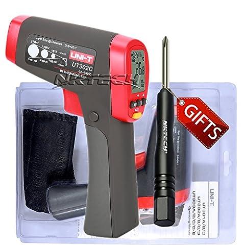 Nktech Uni-T Ut302C IR Thermomètre infrarouge Température -32°C à 650°C ou -32,2°C à 650°C sans contact D: S (20: 1) 250Ms Max/min/Diff/AVG Mode Gun testeur + Tournevis Tl-1