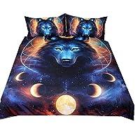 Stillshine Bedding Duvet Cover Set 3D Galaxy Starry Sky Universe Moon Wolf 1 pcs Duvet Cover 135x200cm And 2 pcs Pillow Cover 50x75cm With Zipper Bedding Set Three-piece