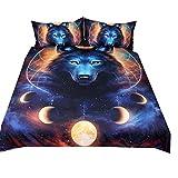 Bettbezug Set 3D Galaxy Sternenhimmel Universum Mond Wolf Eule Elch Löwe Bettbezug Und Kissenbezug für Kinder, Jungen, Mädchen Bettwäsche-Set mit Reißverschluss (Kosmische Milchstraße Wolf, 220x240cm)