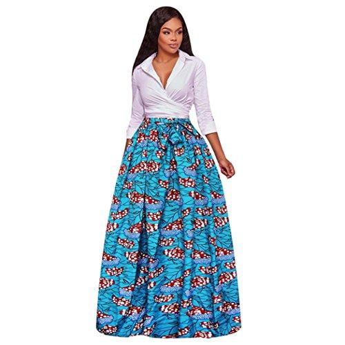 ❤️Faldas, Challeng Impresión digital, gasa, faldas, faldas largas vintage, vestido de encaje (azul, m)