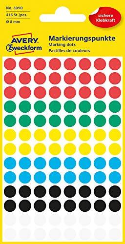 AVERY Zweckform 3090 selbstklebende Markierungspunkte (Ø 8 mm, 416 Klebepunkte auf 4 Bogen, runde Aufkleber für Kalender, Planer und zum Basteln, Papier, matt) bunt -