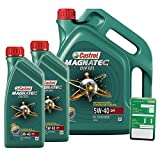 2x 1 L + 5 L = 7 Liter Castrol Magnatec Diesel 5W-40 DPF Motor-Öl inkl. Ölwechsel-Anhänger