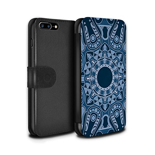 STUFF4 PU-Leder Hülle/Case/Tasche/Cover für Apple iPhone 7 Plus / Pack 15pcs Muster / Mandala Kunst Kollektion Achteck/Blau