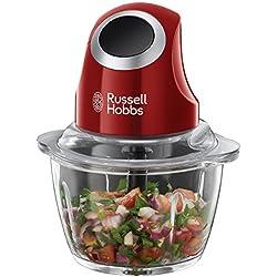 Russell Hobbs 24660-56 Desire Mini-Zerkleinerer, Ein-Hand-Bedientaste, Glasbehälter mit zusätzlichem Deckel, Rot/Schwarz Blitzhacker für Nüsse