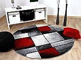 Designer Teppich Brilliant Rot Grau Fantasy Rund in 3 Größen