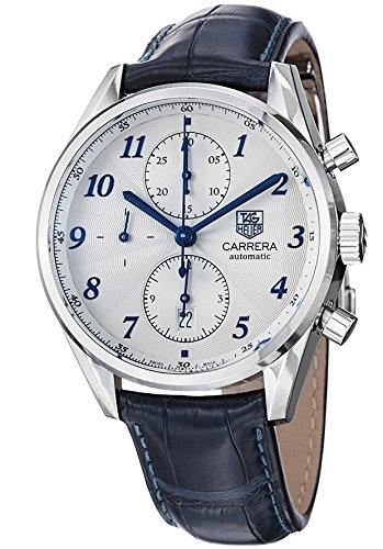 Tag Heuer, Reloj con esfera de metal, para hombre, correa azul