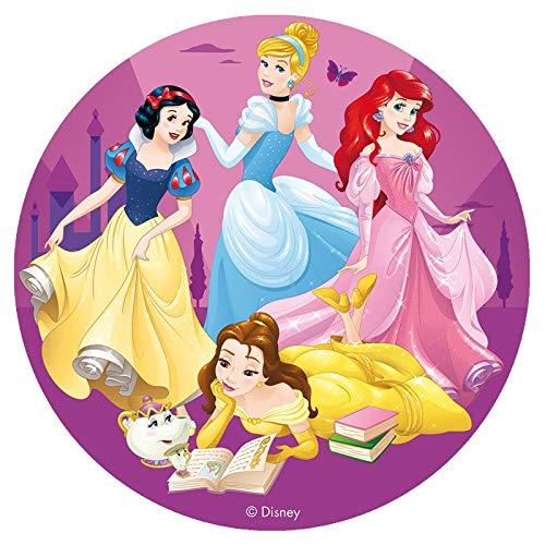 Disney Princess rund 16cm 15,9cm Essbare Zucker Kuchen Topper. Lizenzprodukt. Dekora.