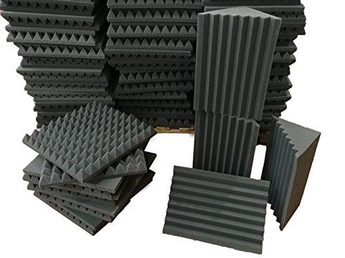 Kit Pannelli Fonoassorbenti - 10 Piramidali 50x50x6 D25 e 4 Basstraps Scanalati H50 D25