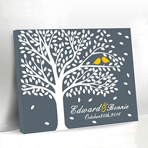 Hochzeit Gästebuch Alternative Baum Hochzeit Welcome Schild Leinwandbild Gästebuch Hochzeit für den Zubehör Geburtstag Geschenk für Braut und Grom Andenken