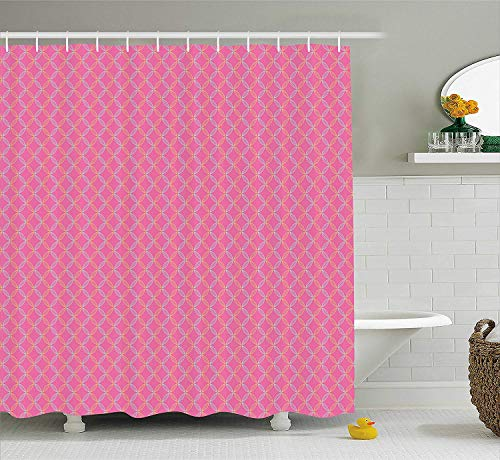 GONIESA Geometric Shower Curtain, Vertical White Stripes Different Colored Diagonal Lines Repeating Pattern, Fabric Bathroom Decor Set with Hooks, 60 * 72inch, White Teal Pink -