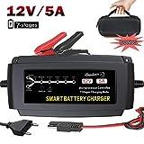 LEICESTERCN 12V Autobatterie Ladegerät Vollautomatisches Ladegerät Auto Batterieladegerät Batterie Erhaltungsgerät Intelligentes für KFZ PKW Motorrad (12V 5A Upgrated)-MEHRWEG