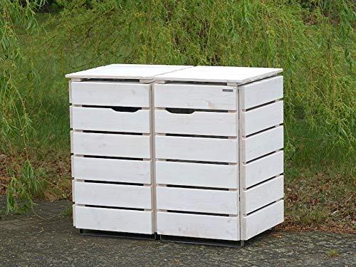 2er Mülltonnenbox / Mülltonnenverkleidung 120 L Holz, Transparent Geölt Weiß - 3