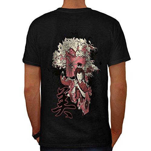 Geisha Sakura Kunst Fantasie Kostüm Perücke Herren S T-shirt Zurück | Wellcoda