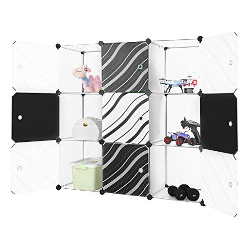 Finether-Armario Modular de 9 Cubos(Sistema de Almacenamiento, Escaparate de Estantes con Puertas de Rayas para el Hogar, Ropa, Zapatos, Juguetes,