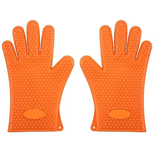 Italish 1 Pair Heavy Duty Silicone Oven Gloves Heat Resistant - use in The Kitchen, BBQ, Wood Burner Gloves - Multi Color