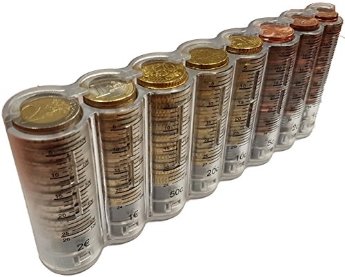CLAIRE-FONCET Durchsichtige und Graduierte Münzspender der 8-Euro-Hauptmünzen, Münzwechsler, Münzsortierer, Portemonnaie, Ideal für Kellner, Kellnerin, Taxifahrer, Busfahrer, Messegelände, Verkäufer