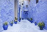 Poster 60 x 40 cm: Blaue Gasse in Chefchaouen von Guy