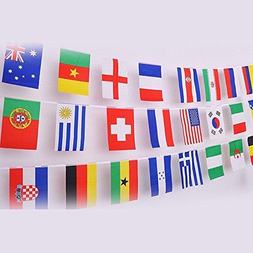 Foto de G2PLUS intermational banderas banderines, mundo países bandera con diferentes banderas nacionales 14cm * 21cm para ventiladores de fútbol RUGBY presentación caso, 50 National Flags