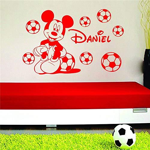 Geiqianjiumai Fußball Junge Cartoon mit Vinyl Zitat Kinderzimmer Wandtattoo Kinderzimmer Aufkleber rot 58 x 32 cm - Herz-bade-bombe