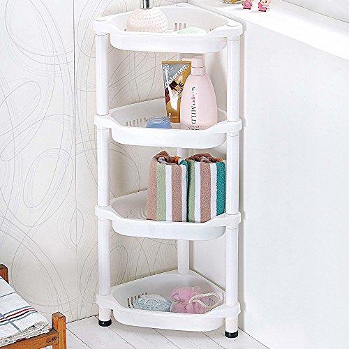 4Etagen rostbeständig Dusche Caddy Regal Küche Badezimmerschrank, ABS-Kunststoff, weiß, Corner (Caddy Kunststoff Dusche Weiß)