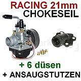 SPORT VERGASER 21mm CHOKEZUG ANSAUGSTUTZEN für APRILIA SR 50 RACING 94-99 H2O