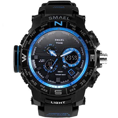REALIKE Herren Digitale Armbanduhr, Outdoor Laufen wasserdichte Doppelanzeige Uhren, Cool Sport große Anzeige Sportuhr mit Leuchtend Zeiger Kalender für Männer Erwachsene Smart Watch