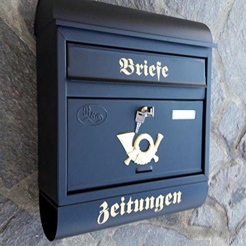 Eigenmarke Großer Briefkasten/Postkasten XXL Schwarz Matt mit Zeitungsrolle Runddach