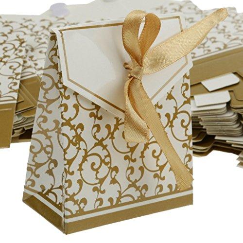 Sun Glower Geschenktüten aus Papier, für Hochzeiten, Süßigkeiten, Geschenkboxen, ca. 50 Stück (Golden)